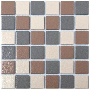 Mosaic Tile Porcelain Brown and Grey Mix 300x300mm