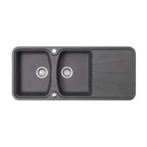 Kitchen Sink 2 Bowls and 1 Drainer Granite and Resin Korona Black 1170x510MM