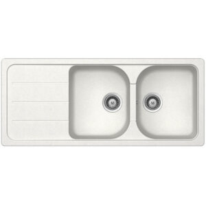 Kitchen Sink 2 Square Bowls and 1 Drainer Frasa Crucial 80D Stonesilk White 500X1160MM (Copy)