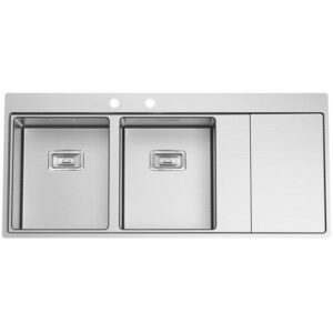 Kitchen Sink 2 Square Bowls And 1 Drainer Frasa Maia 80 D Left Stainless Steel 520X1160MM