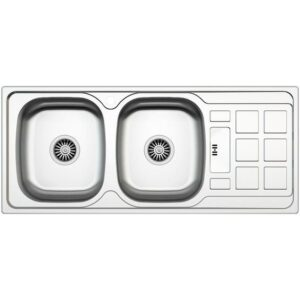 Kitchen Sink 2 Square Bowls 1 Drainer Stainless Steel 1200X500MM