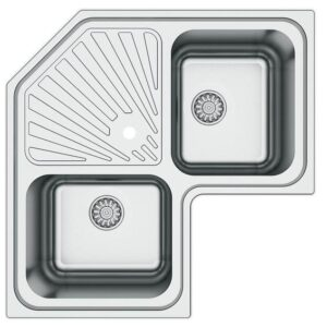 Kitchen Sink Cnr 2 Square Bowls 1 Drainer Stainless S 830X830MM
